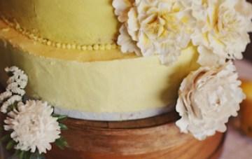 rustic yellow wedding cake fresh flowers | ben blood photography
