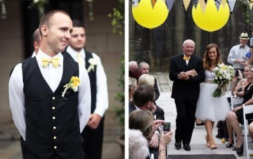 A Yellow DIY Wedding: Bow Ties, Pugs, Balloons & A Floral Sash