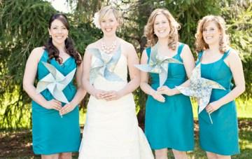 A Chic Turquoise Wedding: Burlap, Pinwheels & Pearls