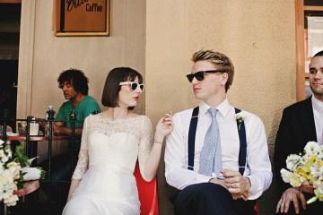 cool wedding couple in raybans   julian beattie photography