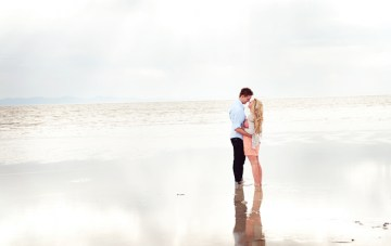 Romantic, Peachy Beach Engagement Shoot