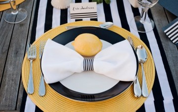 Modern Chic Wedding Ideas: Black & White Stripes + Pops Of Yellow