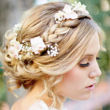 braided crown flower hairstyle