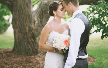 Elegant Navy, Grey and Coral Garden Wedding