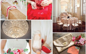 Red, Pink and Gold Sparkle Wedding Inspiration Board