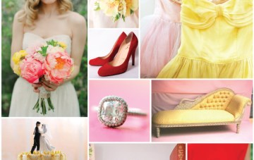 Poppy, Pink and Primrose Yellow Wedding Inspiration Board