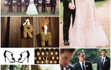 Rustic Gold, Black & Moss Green Wedding Inspiration Board