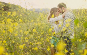 yellow meadow engagement shoot