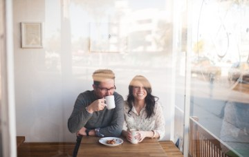 Quirky Coffee Shop Engagement Shoot