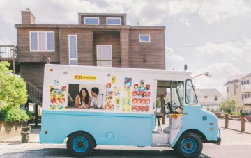 Playful Beach & Ice Cream Truck Engagement Shoot