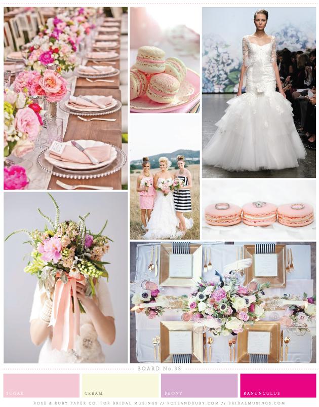 Pink & Cream Macaroons Wedding Inspiration Board