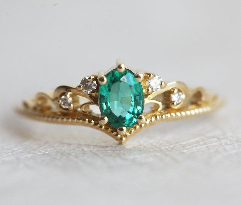 Luxury Princess Crown Crystal Ring Wedding Bridal Ring Jewelry LA