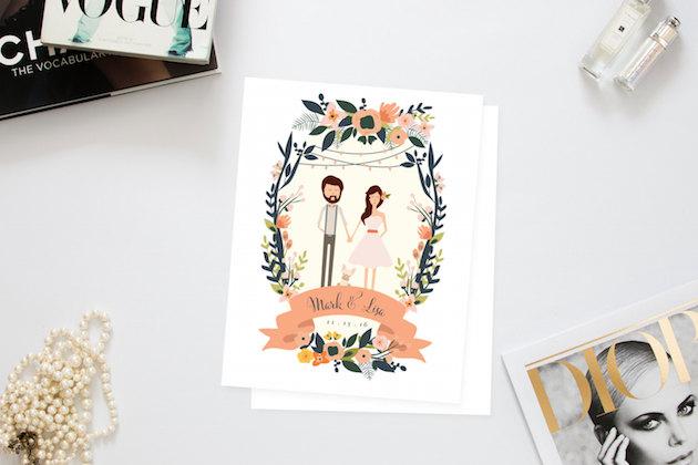 Illustrated Wedding Invitations: Personalised Portrait & Paper Goods; Illustrated Wedding