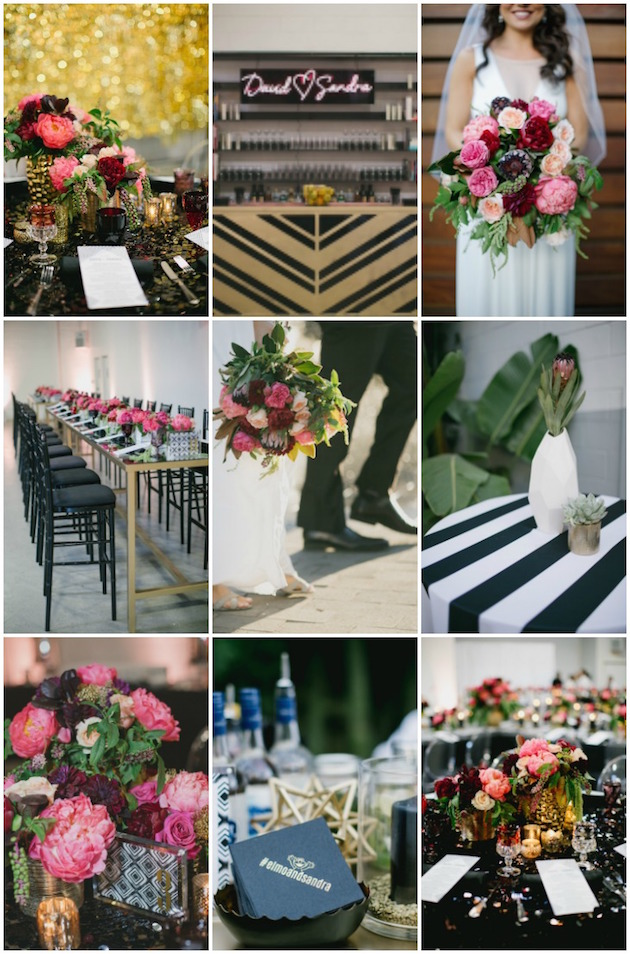 Black, White, Pink & Sparkle: A Seriously Glamorous Wedding Reception