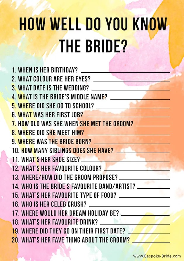 10 bachelorette party and bridal shower games free printables