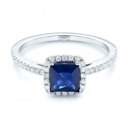 Custom Blue Sapphire and Diamond Halo Engagement Ring by Joseph Jewelry