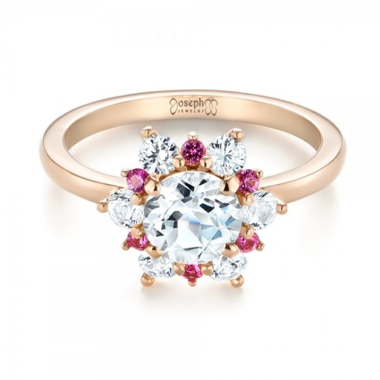 Custom White and Pink Sapphire Halo Engagement Ring