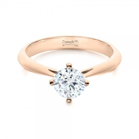 Custom Rose Gold Solitaire Diamond Engagement Ring