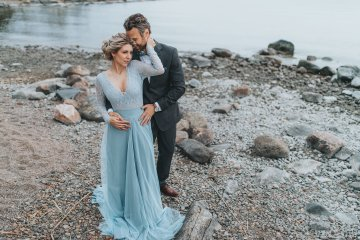 Stormy Scandinavian Wedding Inspiration Featuring a Dramatic Blue Gown | Snowflake Photo 13