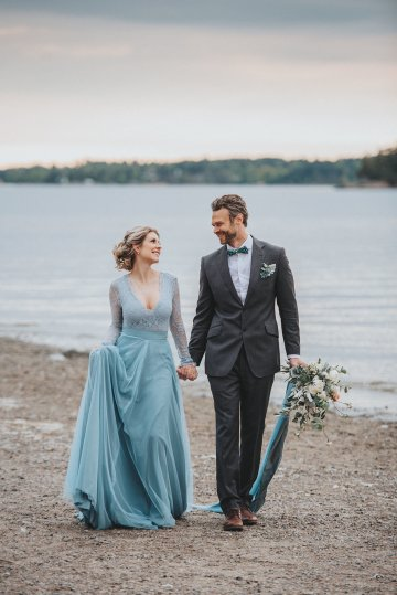 Stormy Scandinavian Wedding Inspiration Featuring a Dramatic Blue Gown | Snowflake Photo 20