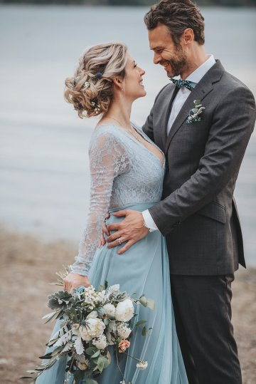 Stormy Scandinavian Wedding Inspiration Featuring a Dramatic Blue Gown | Snowflake Photo 24