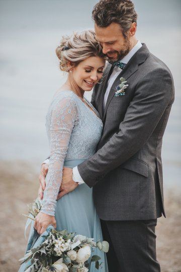 Stormy Scandinavian Wedding Inspiration Featuring a Dramatic Blue Gown | Snowflake Photo 25