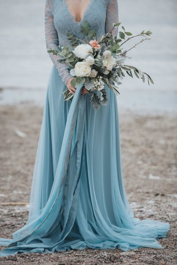 Stormy Scandinavian Wedding Inspiration Featuring a Dramatic Blue Gown | Snowflake Photo 27