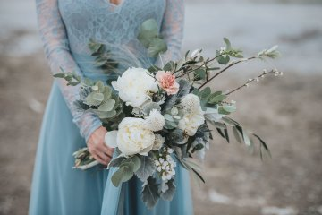 Stormy Scandinavian Wedding Inspiration Featuring a Dramatic Blue Gown | Snowflake Photo 4