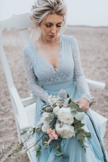 Stormy Scandinavian Wedding Inspiration Featuring a Dramatic Blue Gown | Snowflake Photo 44