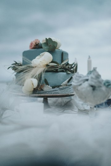 Stormy Scandinavian Wedding Inspiration Featuring a Dramatic Blue Gown | Snowflake Photo 49