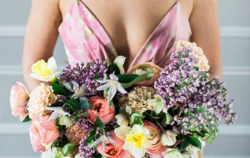 Bright & Colorful Wedding Inspiration With An Incredible Floral Dress