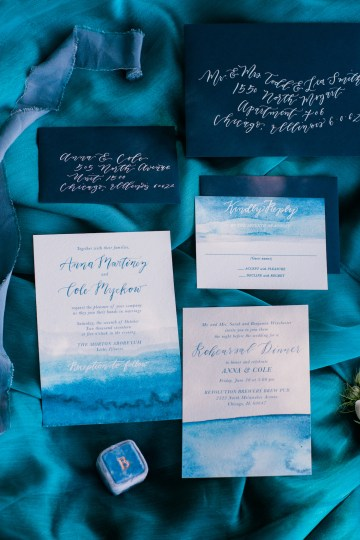 Vibrant Ocean Blue Watercolor Wedding Inspiration | Lola Event Productions | Artistrie Co. 17
