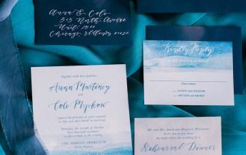 Vibrant Ocean Blue Watercolor Wedding Inspiration | Lola Event Productions | Artistrie Co. 18