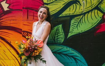 A Designer Bride's Hip Brooklyn Wedding With Tropical Vibes