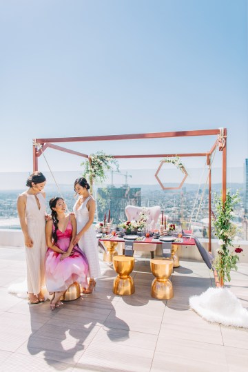 Modern Japanese Inspired Rooftop Wedding Inspiration (With Sushi & Uni, Yum!) | CCL Events | Christine Farah Photography 40