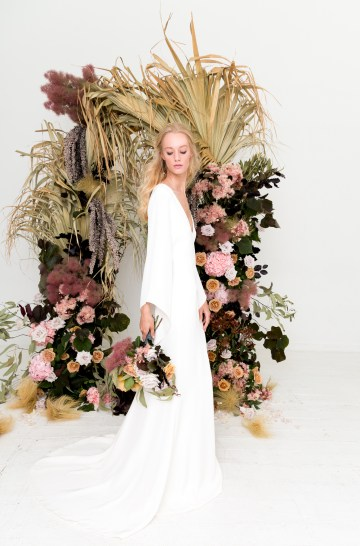 Modern Silk Gowns & Floral Wall Inspiration For The Hip Bride | Anastasia Fua elliftheartist 29