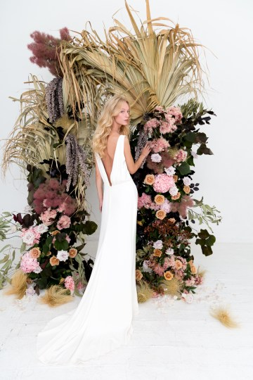 Modern Silk Gowns & Floral Wall Inspiration For The Hip Bride | Anastasia Fua elliftheartist 9