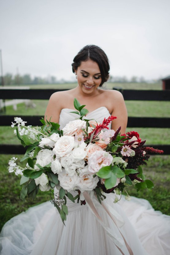 Romance In The Rain; Rustic Barn Wedding Ideas With Dramatic Florals | Flor de Casa Designs 5