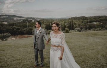 Rustic & Woodsy Barcelona Wedding Featuring Chic Bridal Separates