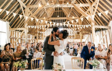 Charming & Personal Pennant Filled Barn Wedding