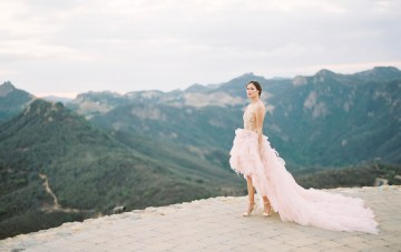 Malibu Wedding Inspiration Featuring A Ruffled Pink Dress