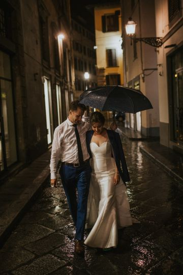Bride and Groom Walking in the Rain Florence Italy