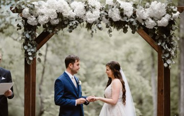 Rustic Cabin Wedding With Simple Green & White Florals