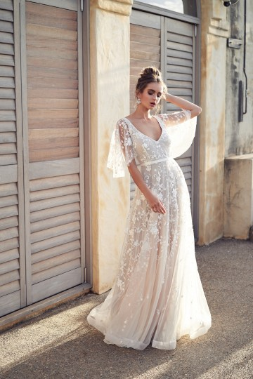 The Romantic & Sparkling Anna Campbell Wanderlust Wedding Dress Collection | Amelie Dress (Draped Sleeve)-2
