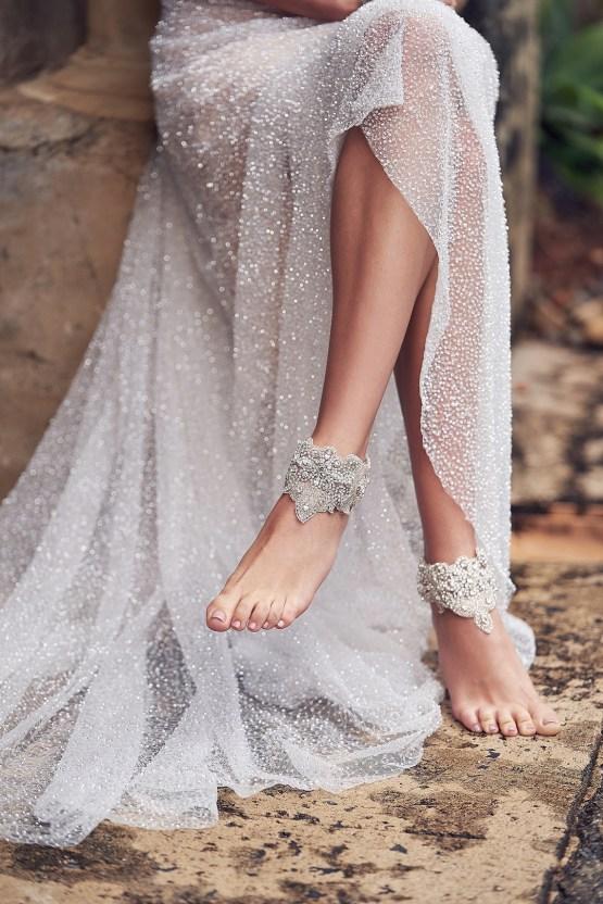The Romantic & Sparkling Anna Campbell Wanderlust Wedding Dress Collection | Blossom Footcuffs
