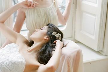 Elegant Blush Parisian Bridal Inspiration Featuring Luxurious Veils and Boudoir Ideas – Bonphotoge 46