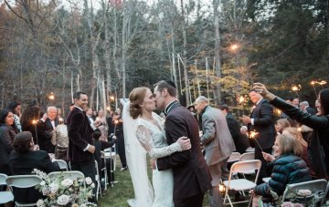 Elegant Autumn Catskills Wedding With Ceremony Sparklers