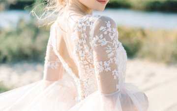 20 Romantic and Whimsical Wedding Dresses in Subtle Colors on Etsy – Angellure Bridal – Blush Pink Wedding Dress