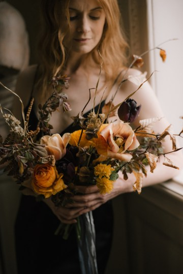 Dramatic Bridesmaid Inspiration With Fall Florals and A Black Jumpsuit – Georgina Harrison Photography 13