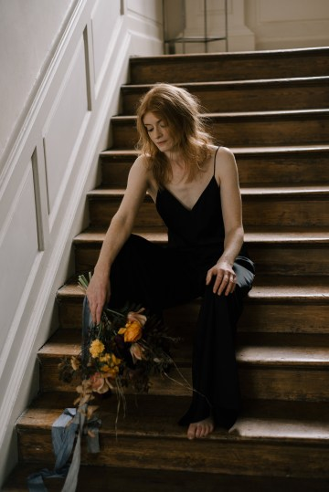 Dramatic Bridesmaid Inspiration With Fall Florals and A Black Jumpsuit – Georgina Harrison Photography 8